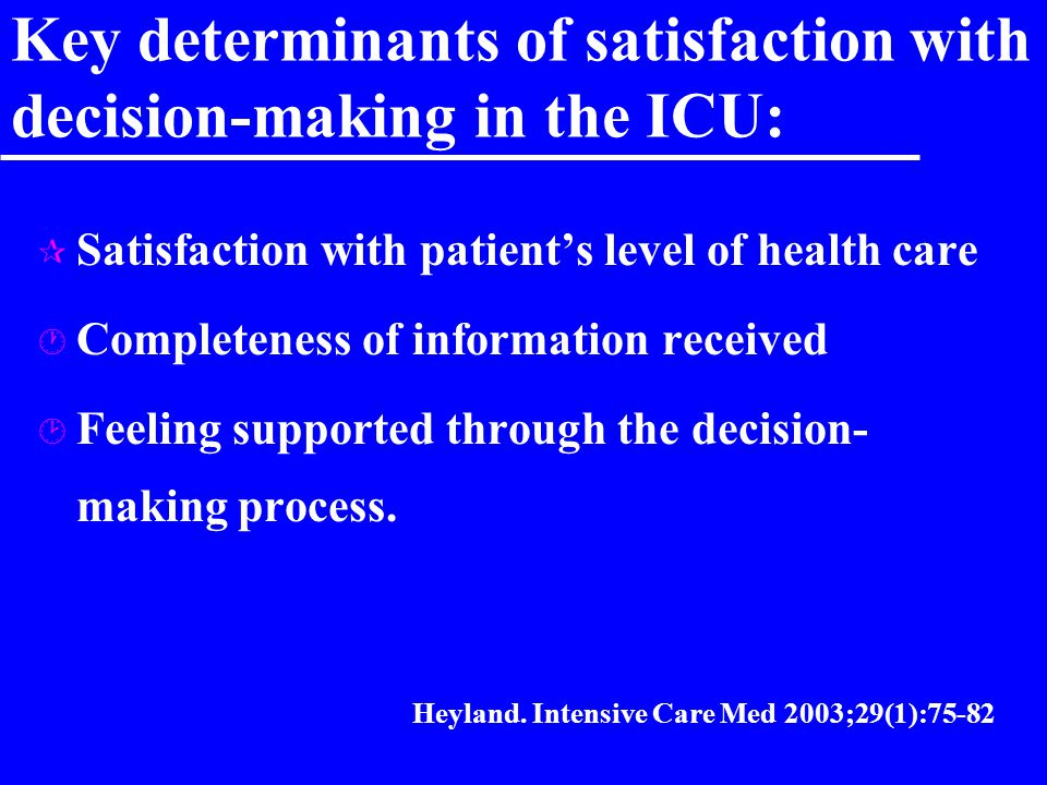Key determinants of satisfaction with decision-making in the ICU: