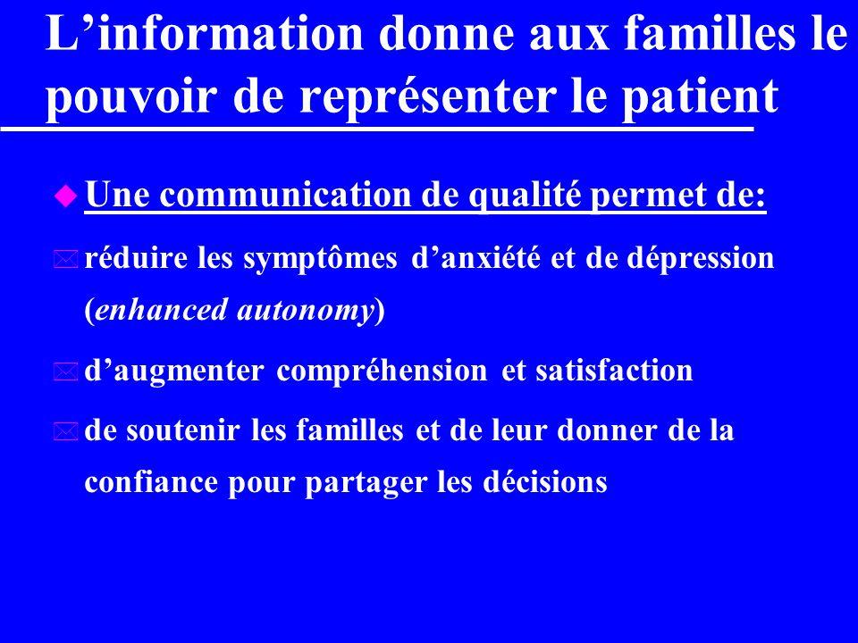 L'information donne aux familles le pouvoir de représenter le patient
