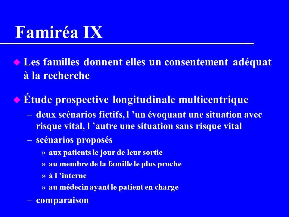Famiréa IX Les familles donnent elles un consentement adéquat à la recherche. Étude prospective longitudinale multicentrique.