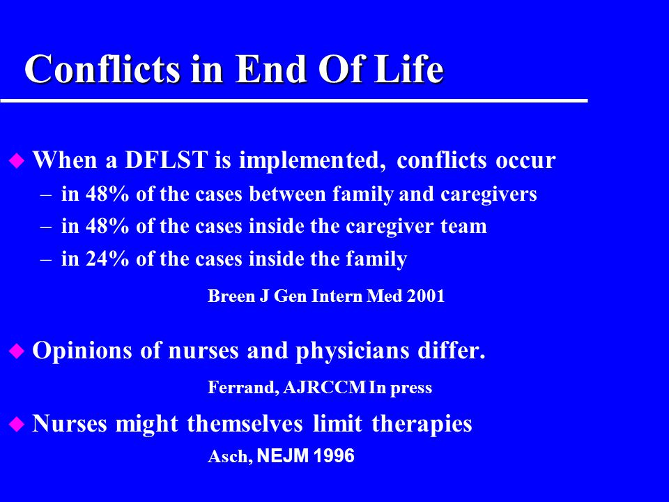 Conflicts in End Of Life