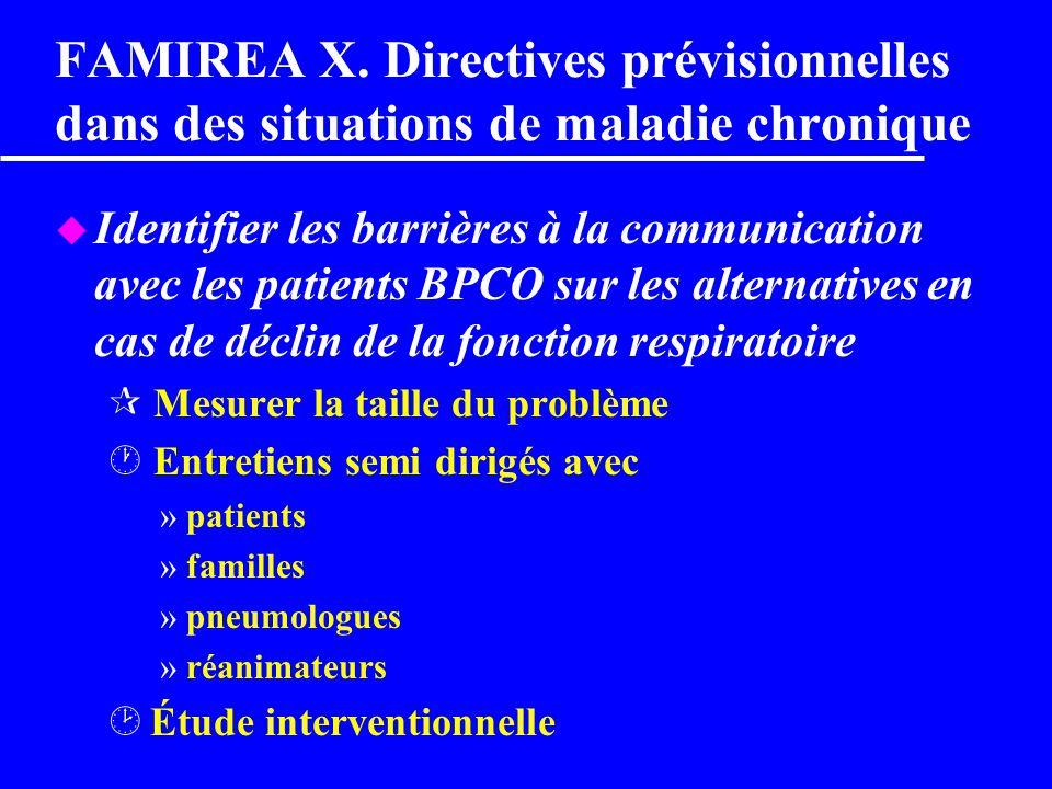 FAMIREA X. Directives prévisionnelles dans des situations de maladie chronique