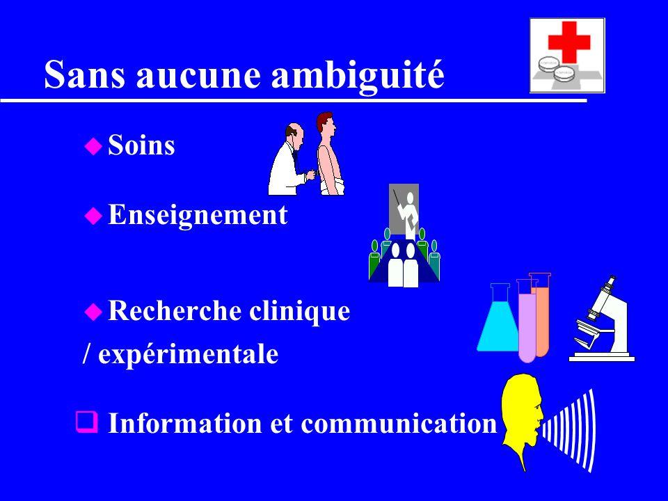 Sans aucune ambiguité Soins Enseignement Recherche clinique