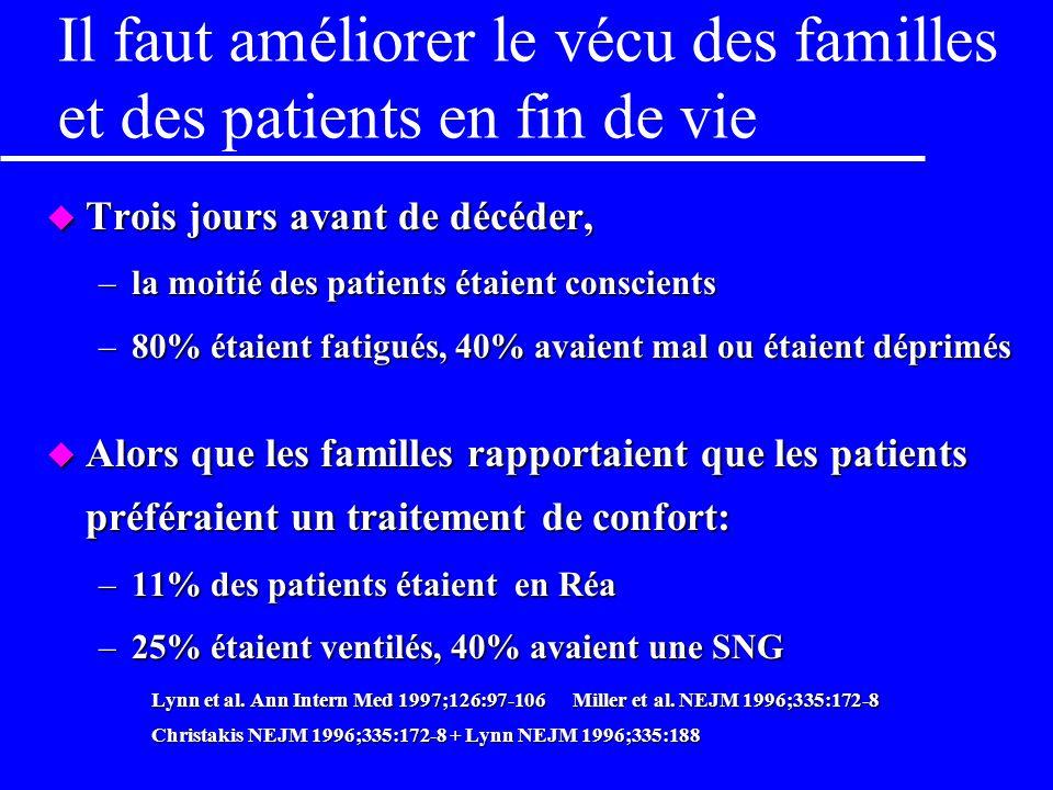 Il faut améliorer le vécu des familles et des patients en fin de vie
