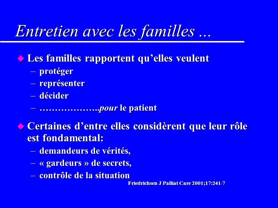 Entretien avec les familles ...