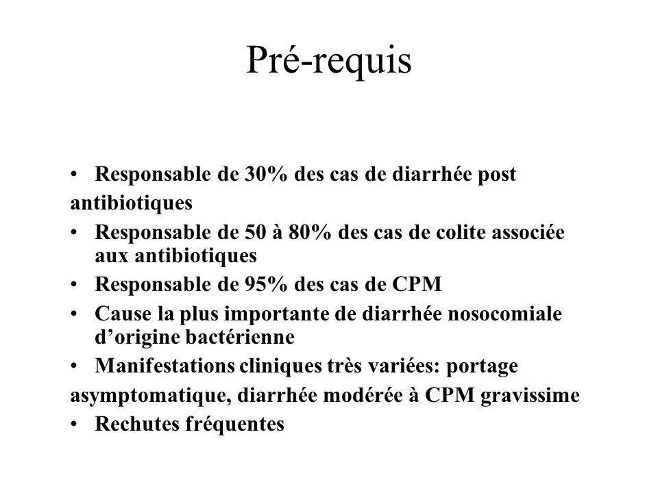 Pré-requis Responsable de 30% des cas de diarrhée post antibiotiques