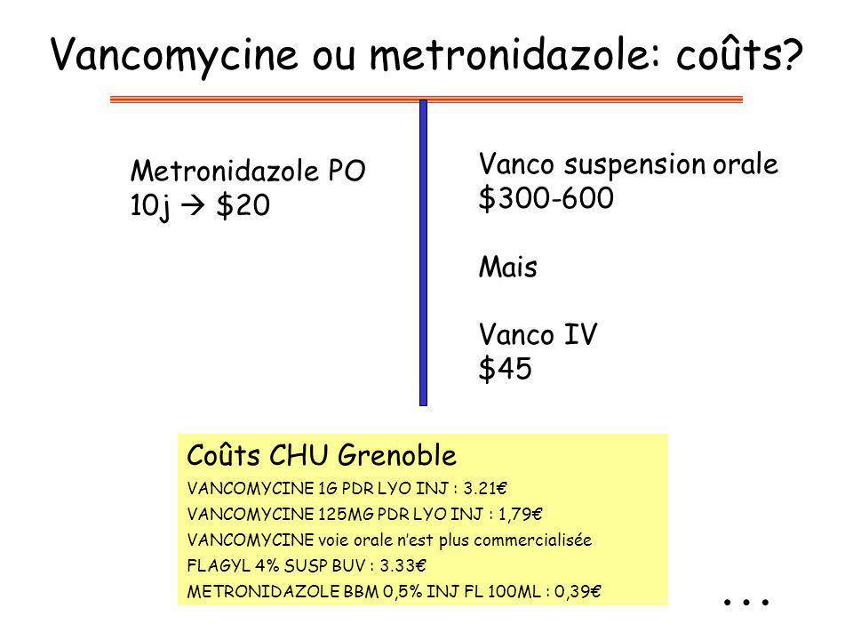 Vancomycine ou metronidazole: coûts