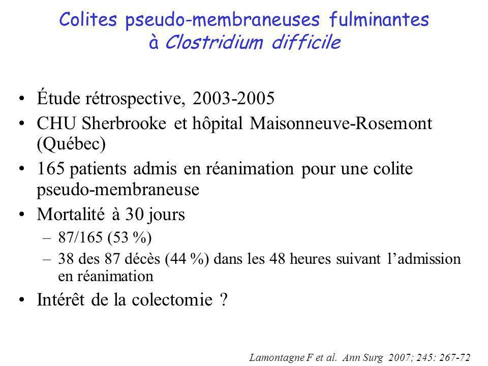 Colites pseudo-membraneuses fulminantes à Clostridium difficile