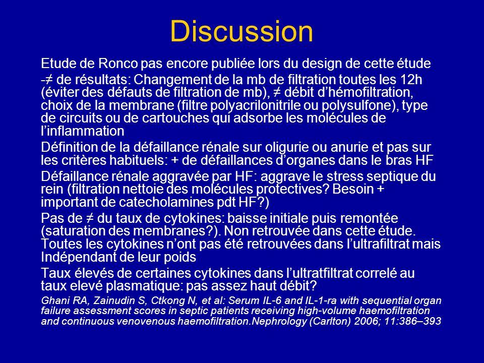 Discussion Etude de Ronco pas encore publiée lors du design de cette étude.