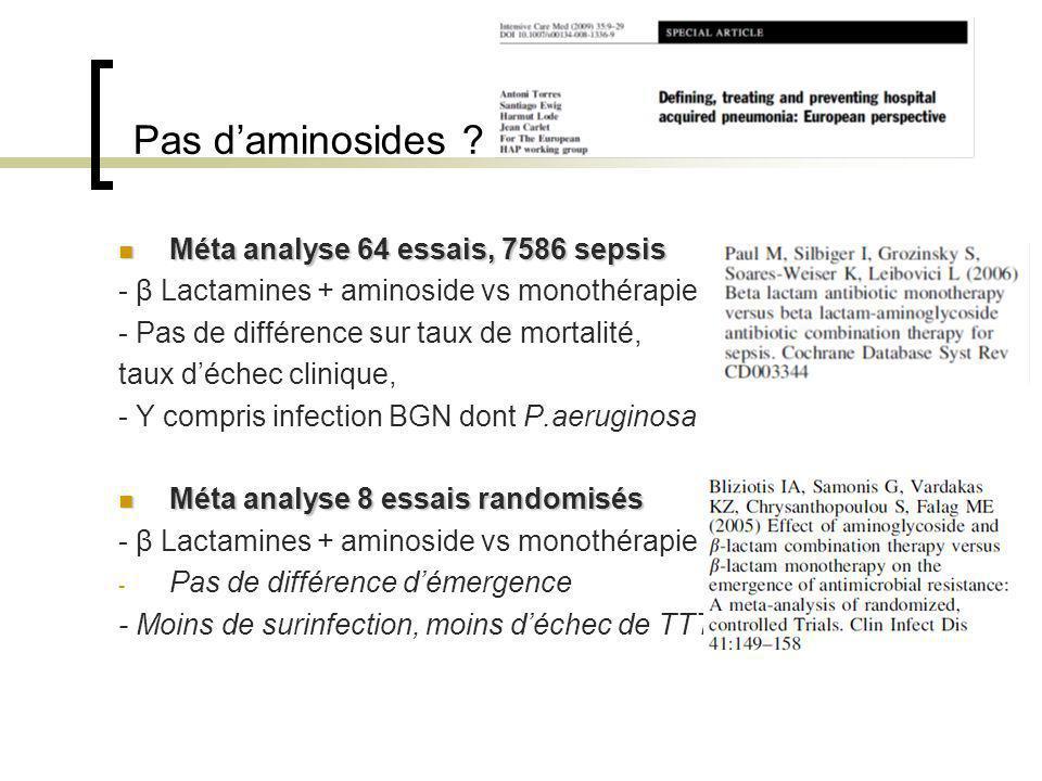 Pas d'aminosides Méta analyse 64 essais, 7586 sepsis