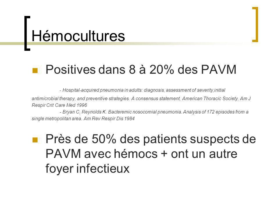 Hémocultures Positives dans 8 à 20% des PAVM