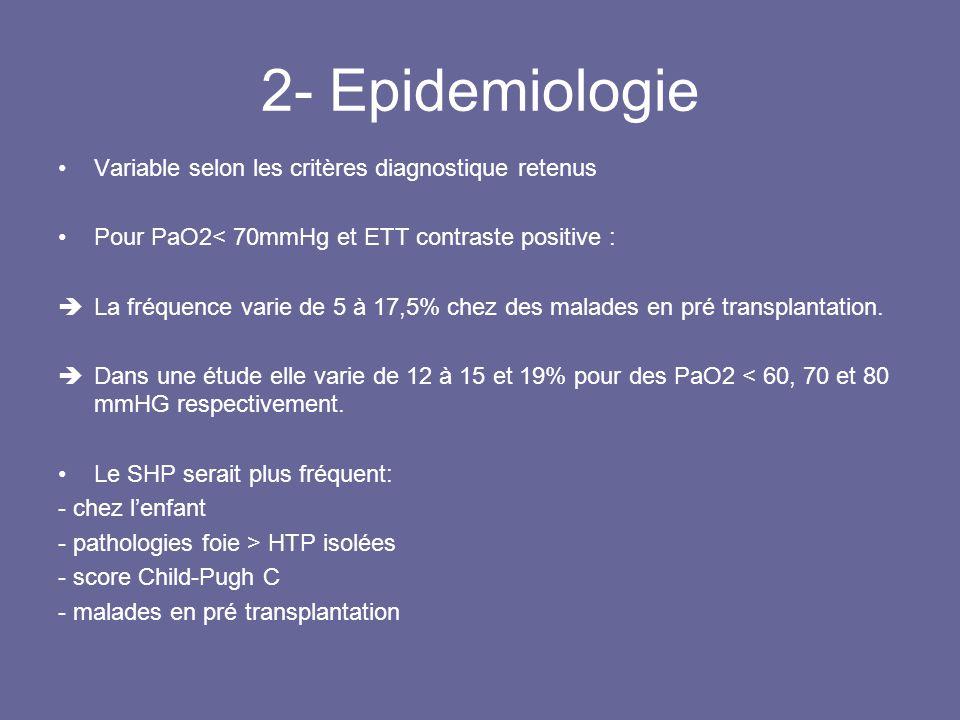 2- Epidemiologie Variable selon les critères diagnostique retenus