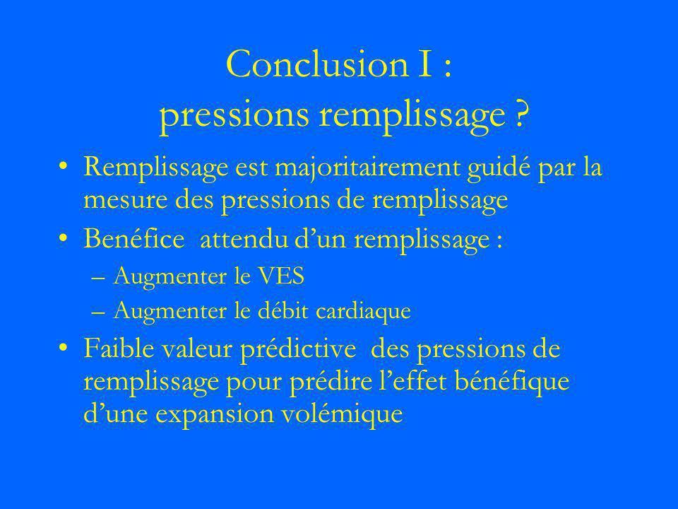 Conclusion I : pressions remplissage