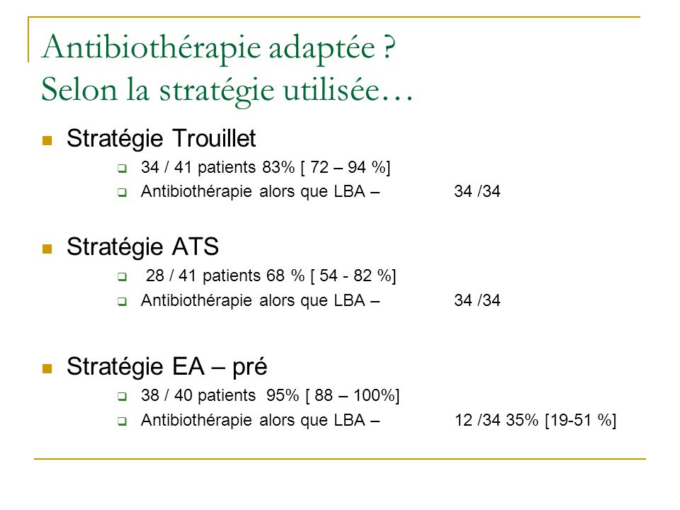 Antibiothérapie adaptée Selon la stratégie utilisée…
