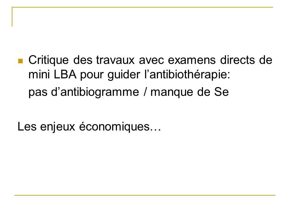 Critique des travaux avec examens directs de mini LBA pour guider l'antibiothérapie: