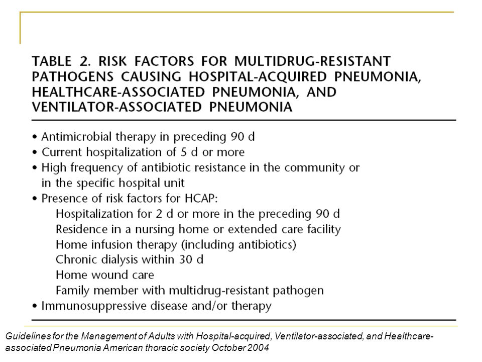 Guidelines for the Management of Adults with Hospital-acquired, Ventilator-associated, and Healthcare-associated Pneumonia American thoracic society October 2004