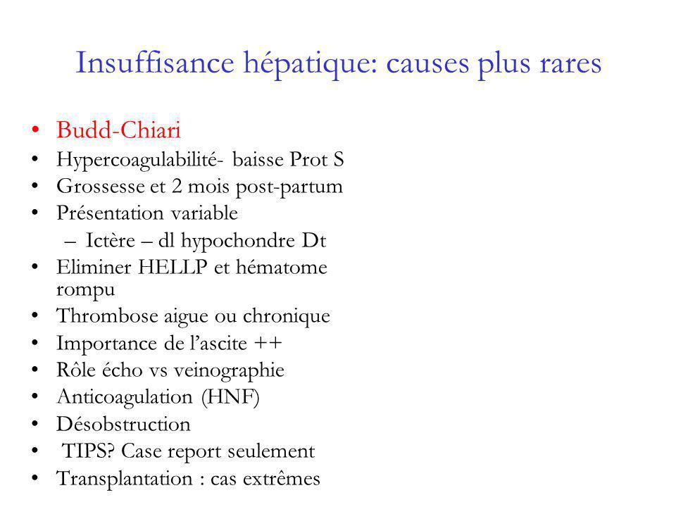 Insuffisance hépatique: causes plus rares