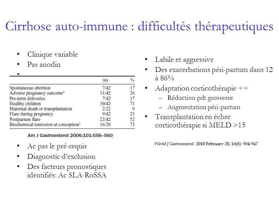 Cirrhose auto-immune : difficultés thérapeutiques