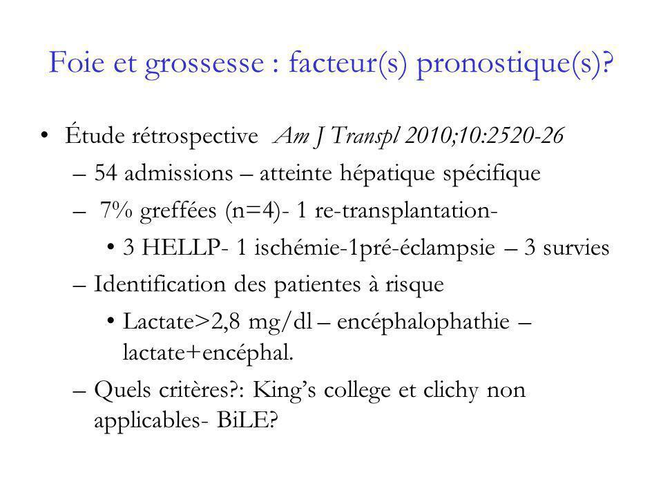 Foie et grossesse : facteur(s) pronostique(s)