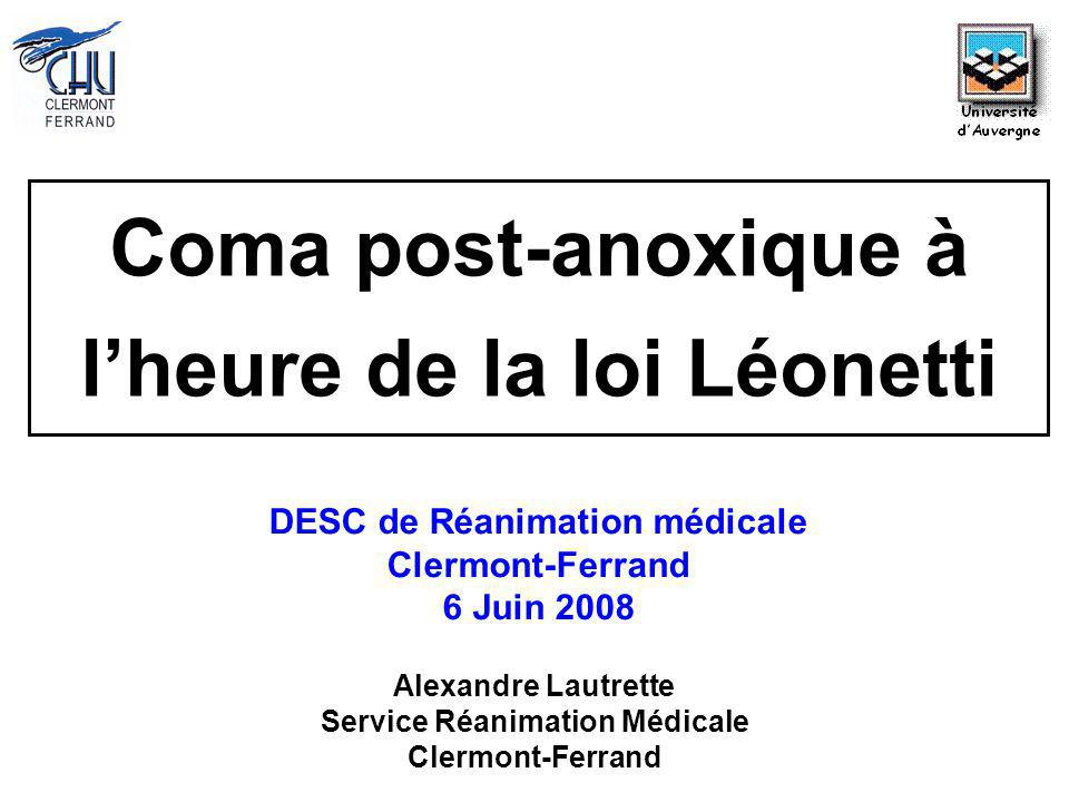 Coma post-anoxique à l'heure de la loi Léonetti