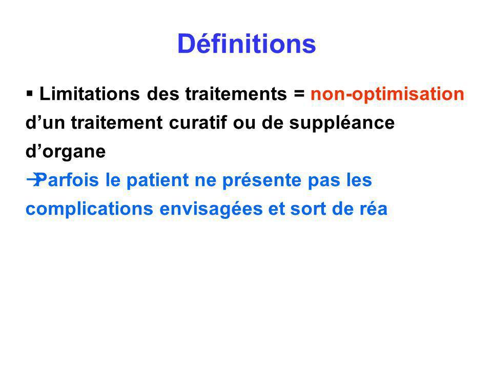 Définitions Limitations des traitements = non-optimisation d'un traitement curatif ou de suppléance d'organe.