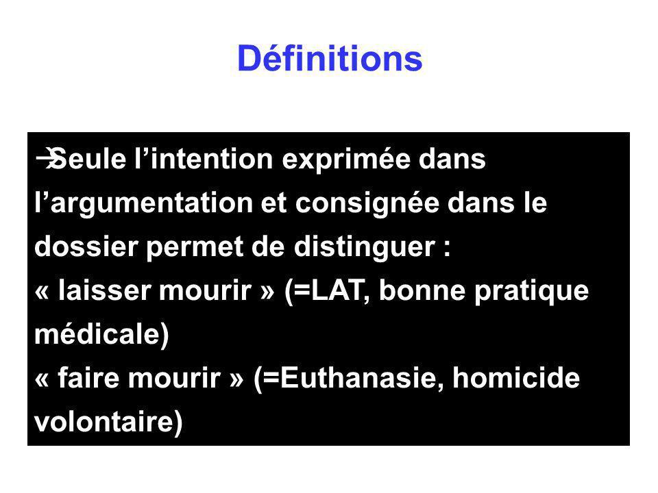 Définitions Seule l'intention exprimée dans l'argumentation et consignée dans le dossier permet de distinguer :