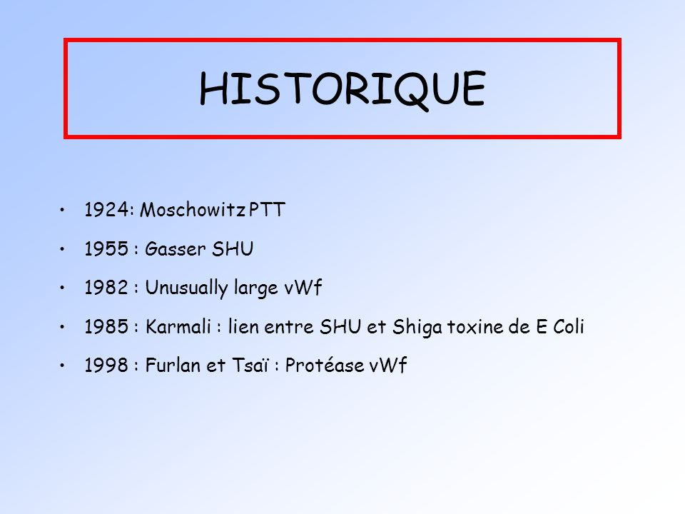 HISTORIQUE 1924: Moschowitz PTT 1955 : Gasser SHU