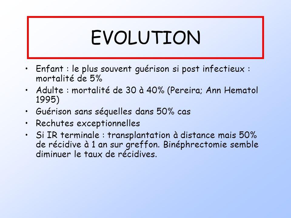 EVOLUTION Enfant : le plus souvent guérison si post infectieux : mortalité de 5% Adulte : mortalité de 30 à 40% (Pereira; Ann Hematol 1995)