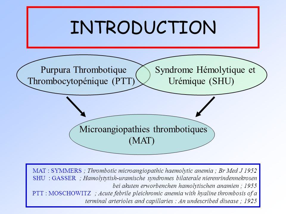 INTRODUCTION Purpura Thrombotique Thrombocytopénique (PTT)