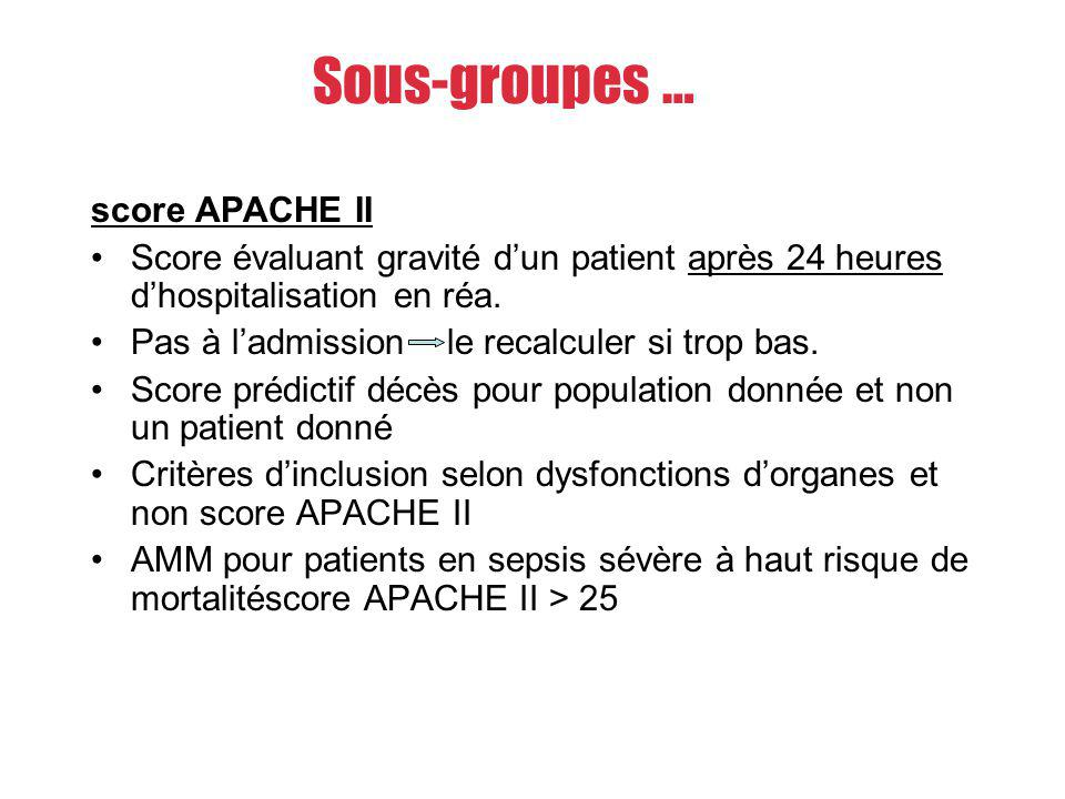 Sous-groupes … score APACHE II