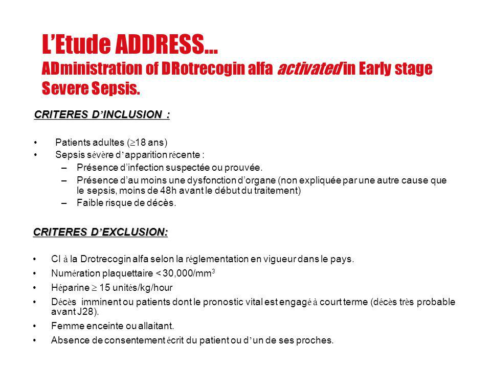 L'Etude ADDRESS… ADministration of DRotrecogin alfa activated in Early stage Severe Sepsis.