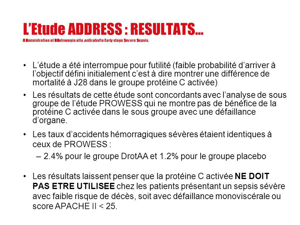 L'Etude ADDRESS : RESULTATS… ADministration of DRotrecogin alfa activated in Early stage Severe Sepsis.