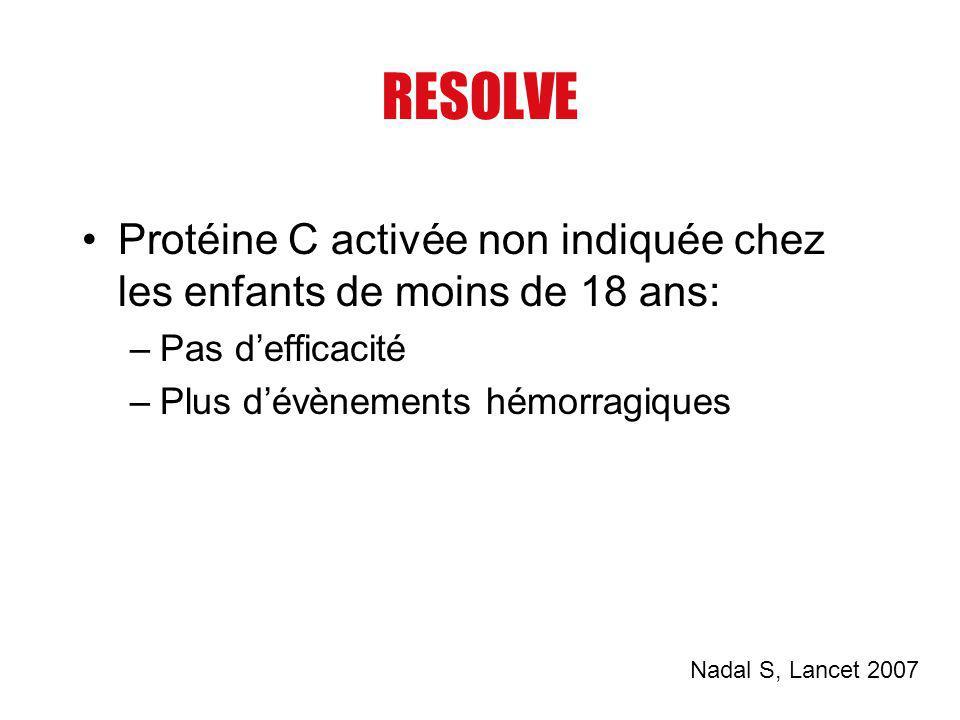 RESOLVE Protéine C activée non indiquée chez les enfants de moins de 18 ans: Pas d'efficacité. Plus d'évènements hémorragiques.