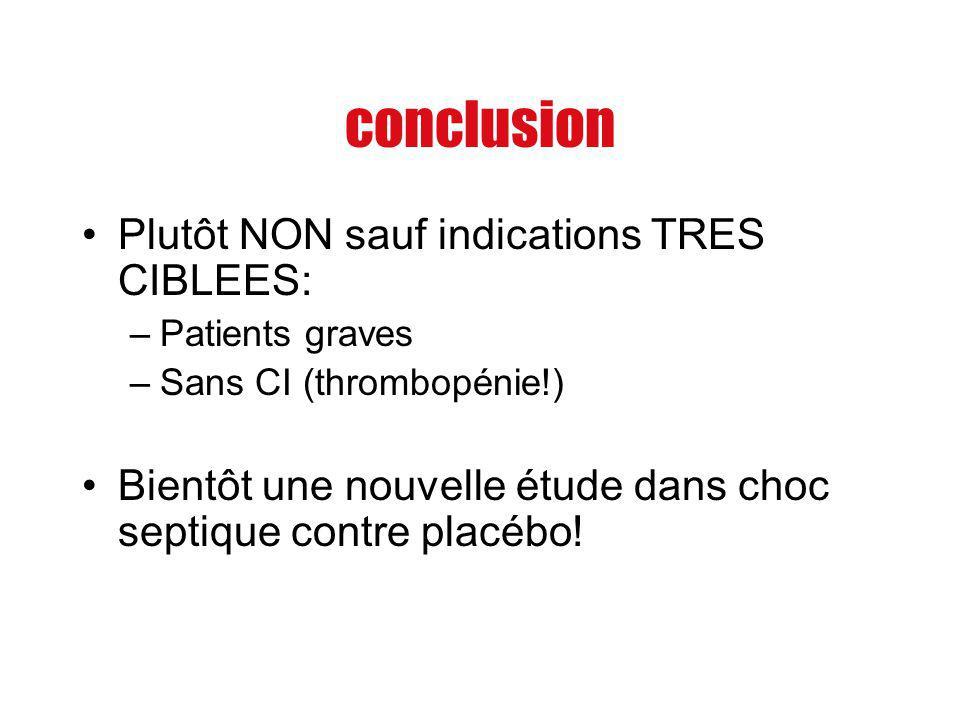 conclusion Plutôt NON sauf indications TRES CIBLEES: