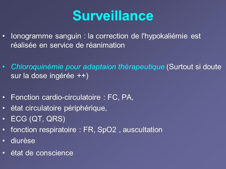 Surveillance Ionogramme sanguin : la correction de l hypokaliémie est réalisée en service de réanimation.