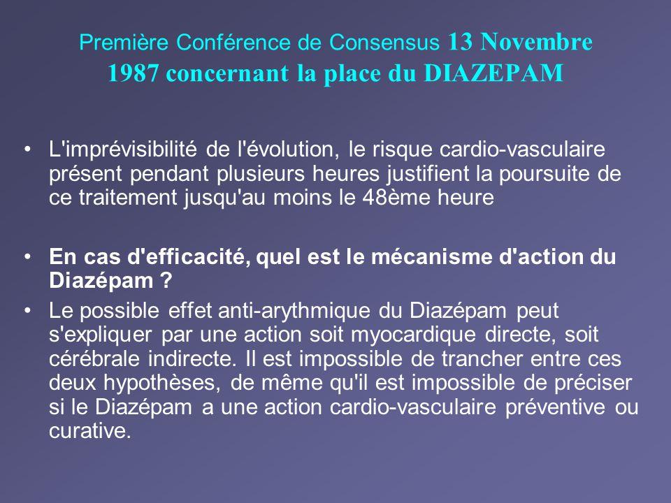Première Conférence de Consensus 13 Novembre 1987 concernant la place du DIAZEPAM