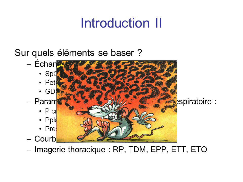 Introduction II Sur quels éléments se baser Échanges gazeux :