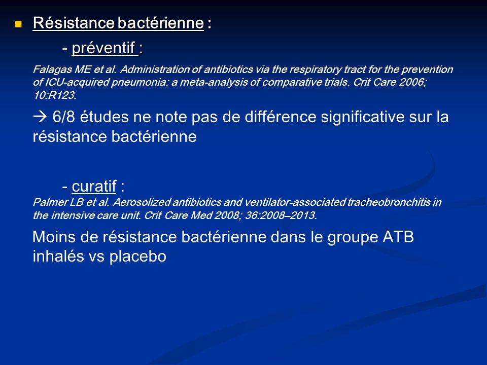 Résistance bactérienne : - préventif :