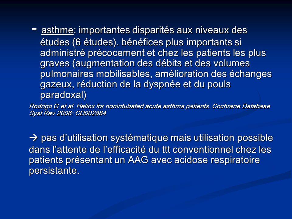 - asthme: importantes disparités aux niveaux des. études (6 études)
