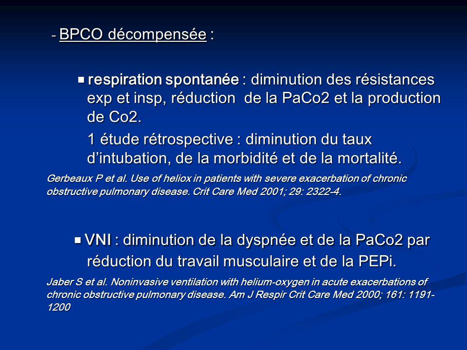 - BPCO décompensée : ■ respiration spontanée : diminution des résistances exp et insp, réduction de la PaCo2 et la production de Co2.