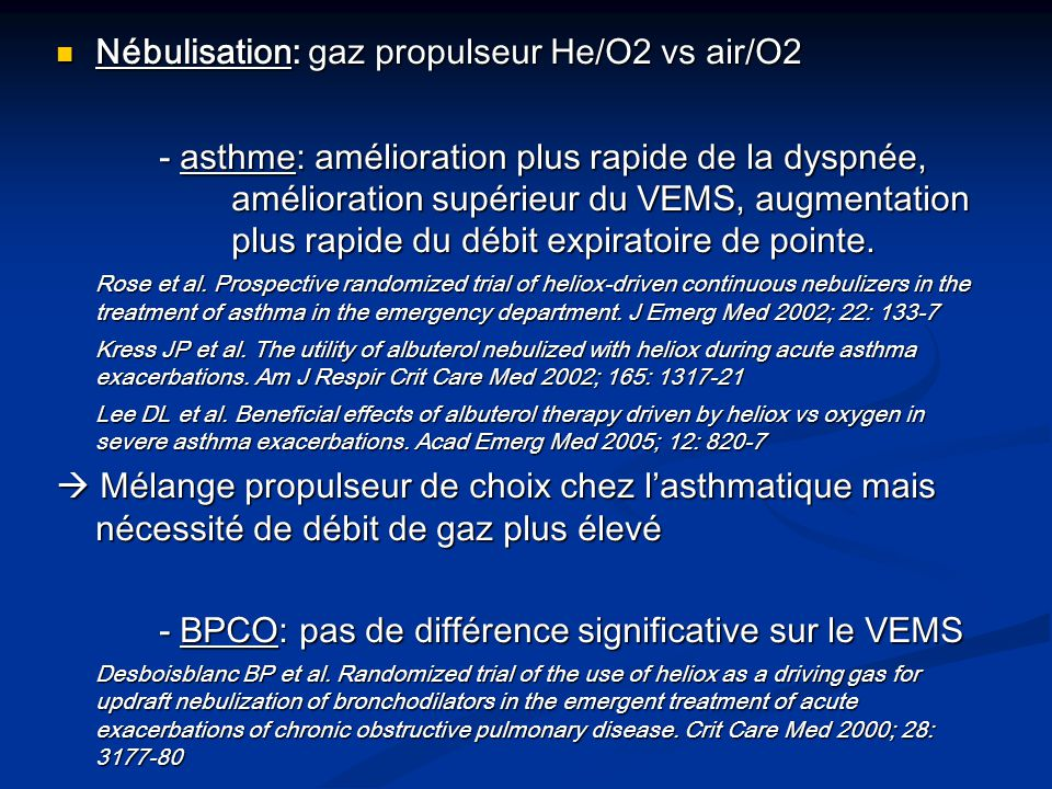 Nébulisation: gaz propulseur He/O2 vs air/O2