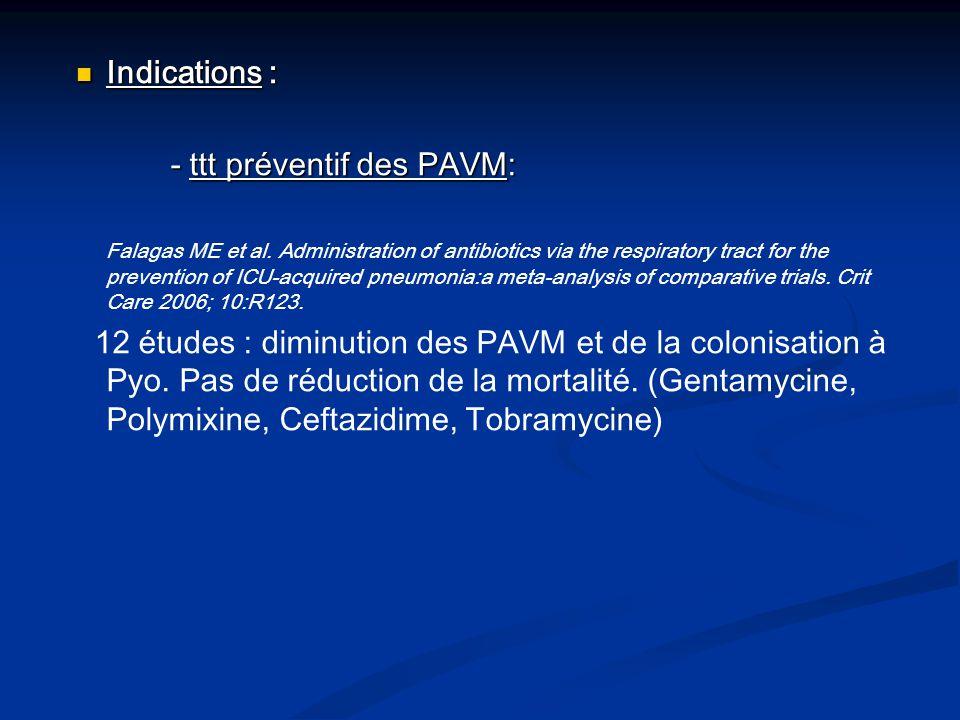 - ttt préventif des PAVM: