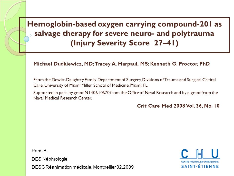 Hemoglobin-based oxygen carrying compound-201 as salvage therapy for severe neuro- and polytrauma (Injury Severity Score 27–41)