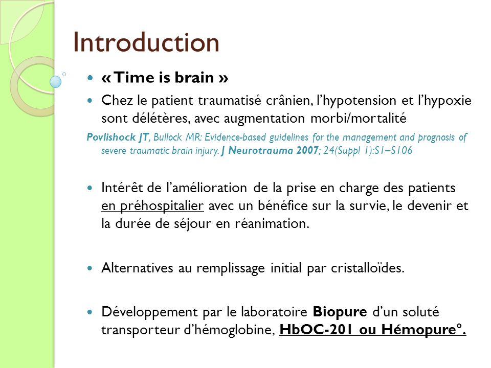 Introduction « Time is brain »