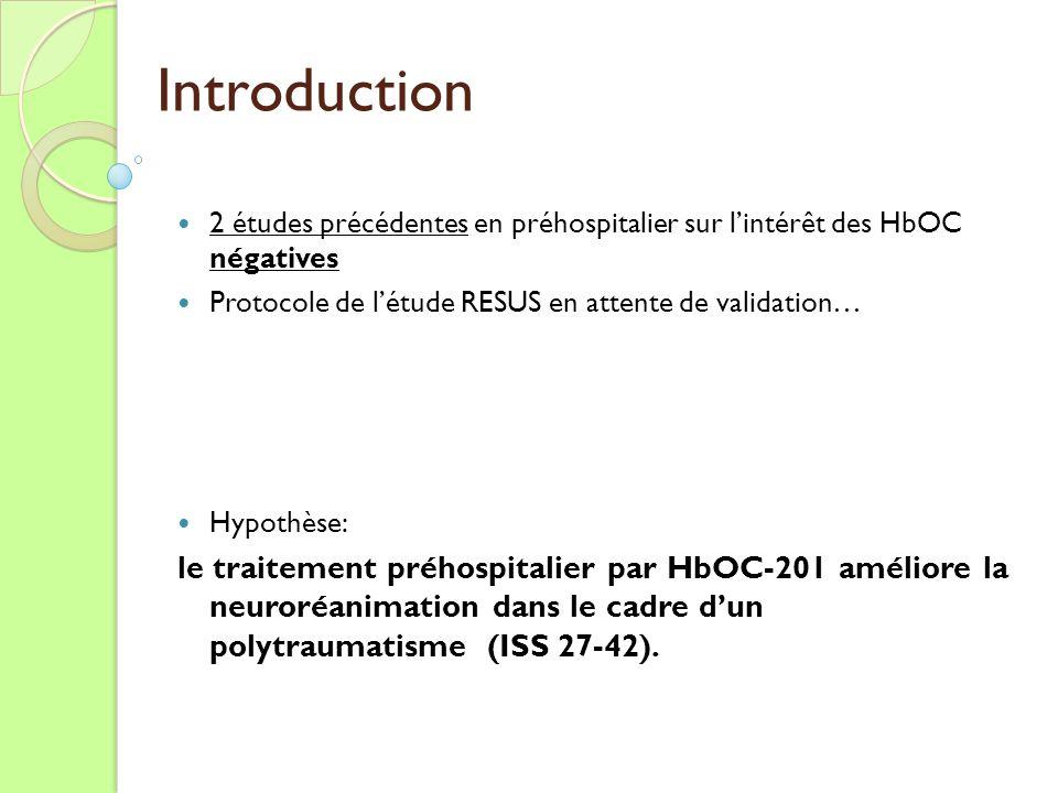 Introduction 2 études précédentes en préhospitalier sur l'intérêt des HbOC négatives. Protocole de l'étude RESUS en attente de validation…