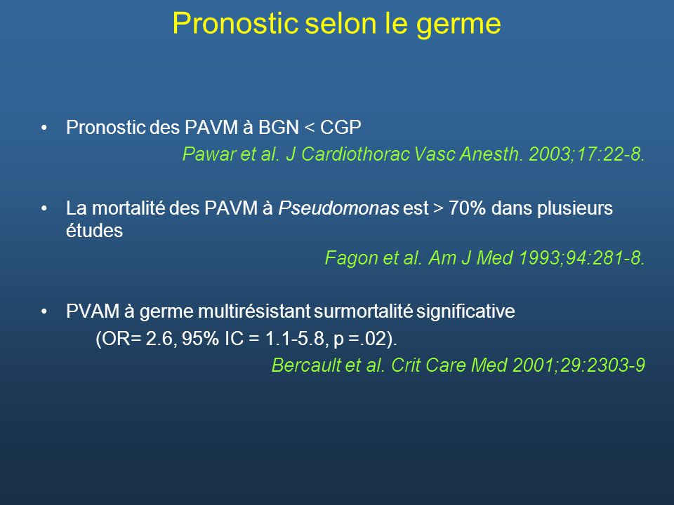 Pronostic selon le germe