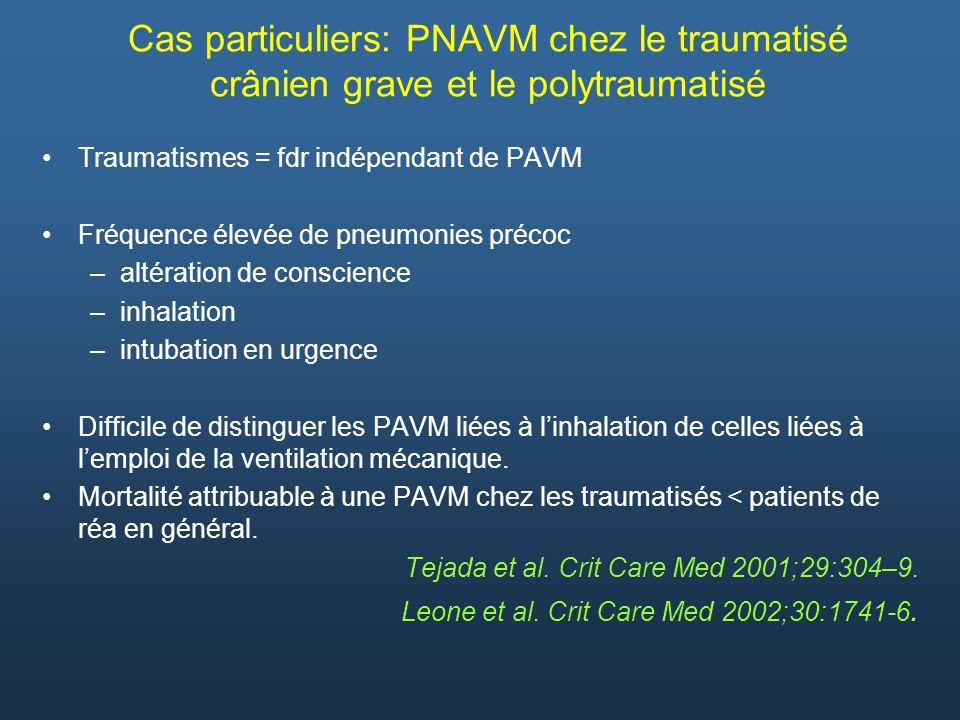 Cas particuliers: PNAVM chez le traumatisé crânien grave et le polytraumatisé