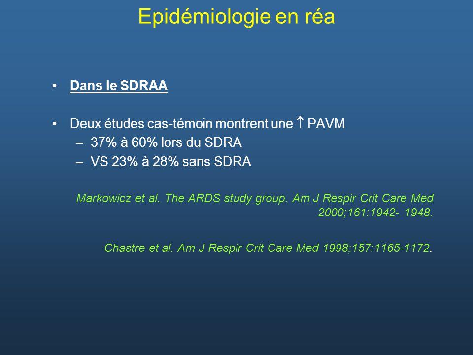 Epidémiologie en réa Dans le SDRAA