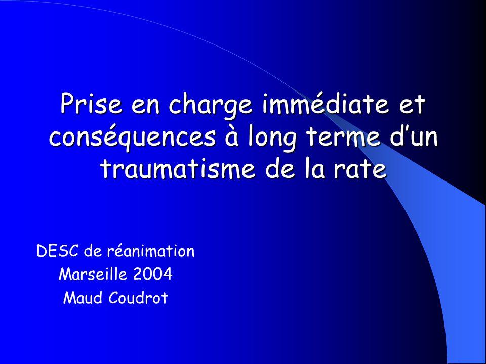 Prise en charge immédiate et conséquences à long terme d'un traumatisme de la rate