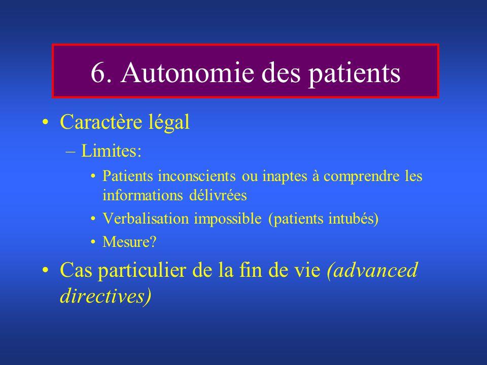 6. Autonomie des patients