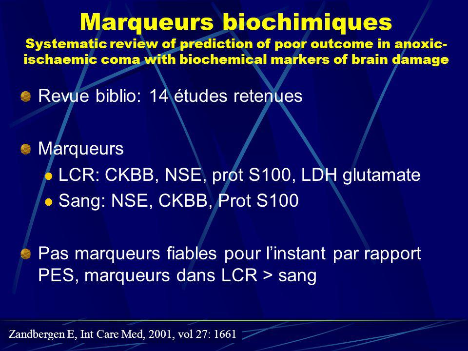 Marqueurs biochimiques Systematic review of prediction of poor outcome in anoxic-ischaemic coma with biochemical markers of brain damage